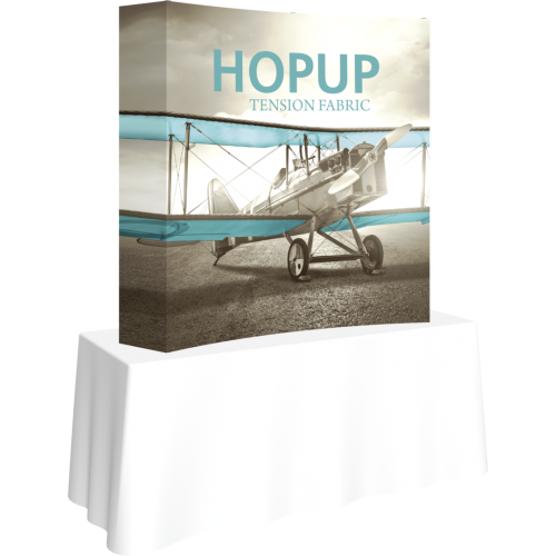 HHopup 5ft Curved Square Tabletop Tension Fabric Display