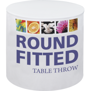 """Round table throws are tailored to fit 30"""", 48"""" and 60"""" diameter round tables, and come in fitted and stretch fit options. Round table throws provide the opportunity to incorporate additional design elements and messaging into your display, especially beneficial in areas with limited space. The dye-sublimation printing process produces fully-printed vibrant graphics that stand out at sales events and presentations, trade shows, in retail environments and more. The round table throw is printed on washable polyester, and is designed to add the finishing touch to your display."""