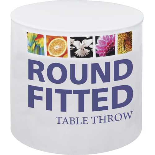 "Round table throws are tailored to fit 30"", 48"" and 60"" diameter round tables, and come in fitted and stretch fit options. Round table throws provide the opportunity to incorporate additional design elements and messaging into your display, especially beneficial in areas with limited space. The dye-sublimation printing process produces fully-printed vibrant graphics that stand out at sales events and presentations, trade shows, in retail environments and more. The round table throw is printed on washable polyester, and is designed to add the finishing touch to your display."