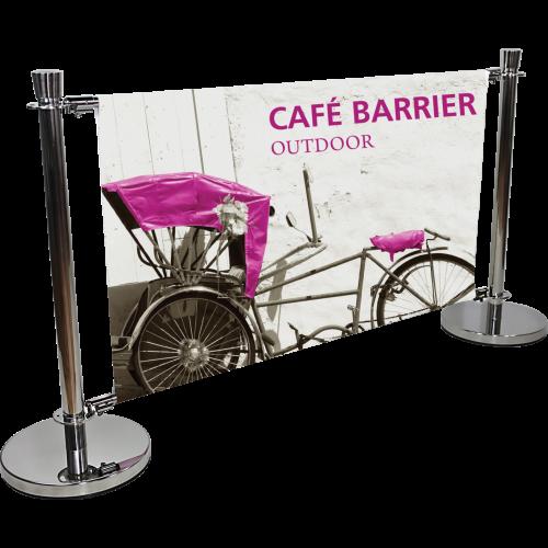 Cafe barrier indoor/outdoor banner stand system